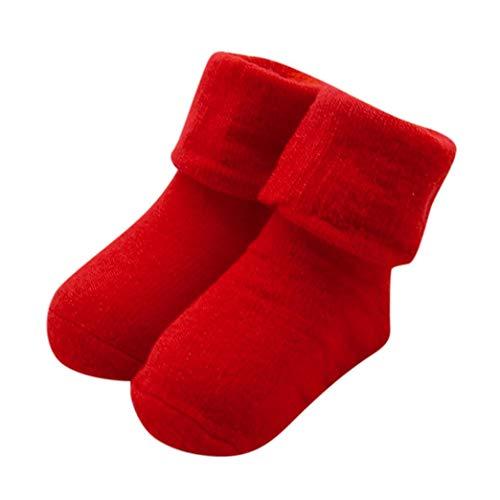 FeiliandaJJ Baby Baumwollsocke Bequeme Nette Kinder Warme Socken Einfarbig Socken für 0~12 Monate (rot)