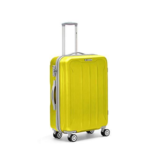 R Roncato Trolley Grande Rigido Ultraleggero Serie Flight in ABS 100% per Viaggi e Vacanze, Colore Azzurro
