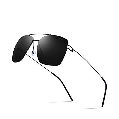 Hengtaichang Sunglasses Polarized Sunglasses Men Ultralight NEW Brand Mirror Alloy Oversize Square Sun Glasses For Men Screwless Eyewear Gray