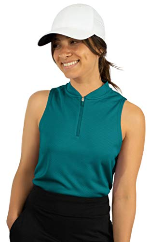 Three Sixty Six Womens Sleeveless Collarless Golf Polo Shirt with Zipper - Quick Dry Tank Tops for Women Teal Green
