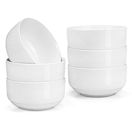Lawei 6er Pack Müslischalen aus Porzellan Müsli Schale Schüssel Müslischüssel Reisschüssel Suppenschale Eisschale - 350ml, Weiß