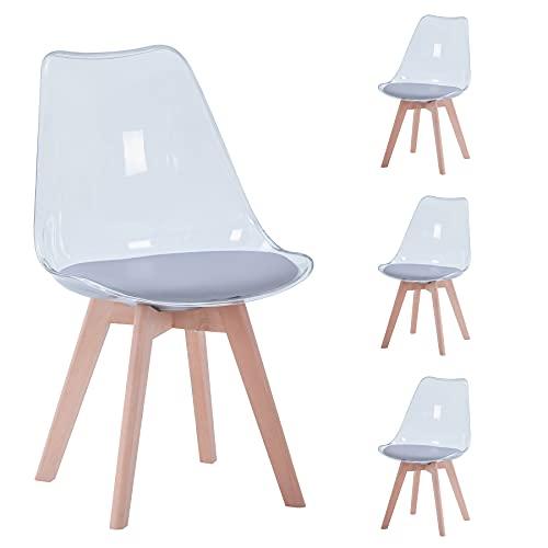 BenyLed Juego de 4 sillas de Comedor de Estilo escandinavo, diseño Retro, sillas Laterales de acrílico Transparente, Silla de Cristal con cojín tapizado de PU (Gris)