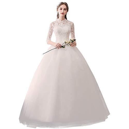 BGGYF Hochzeitskleid Appliques White Bridal Dress High Neckline Spitze Ballkleid Halbarm Elegante Brautkleider Korsett Stickerei Sexy