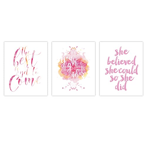 Inspirational Quote Typography Art Painting Poster,Watercolor Motivational Letterings Cardstock Art Print For Girls Women Bedroom Home Wall Decor (set of 3, 8'' x 10'',Unframed)