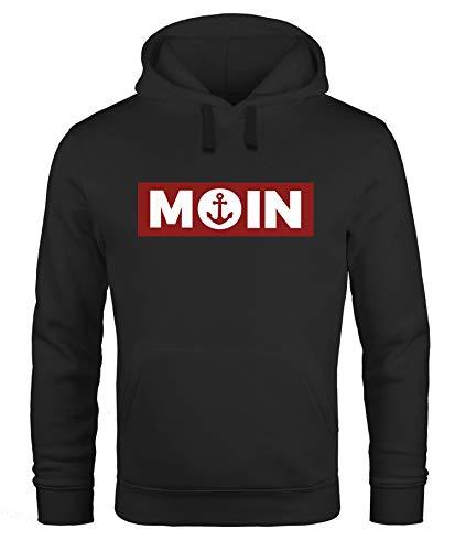 Neverless® Hoodie Herren Moin norddeutsch Morgen Anker Kapuzen-Pullover Print Männer Fashion Streetstyle schwarz L