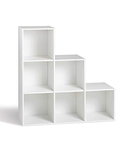 Compo Meuble de Rangement 6 Casiers en Escalier Bibliothèque Etagères Cubes Blanc 93 x 29,5 x 93 cm