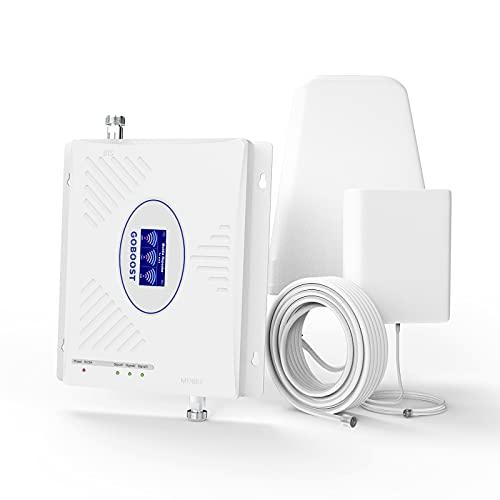 Goboost Amplificador de Señal Teléfono Celular 2G 3G 4G LTE Triple Banda 2/4/5 CDMA 850MHz AWS 1700/2100MHz PCS 1900MHz Repetidor del...