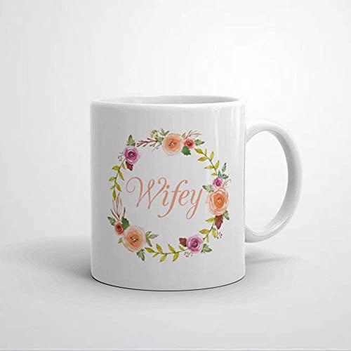 N\A Taza W-Ifey con decoración de Guirnalda de Flores Regalo de Boda Regalo de Luna de Miel para Esposa Nueva Taza de café para Despedida de Soltera Taza de cerámica para Despedida de Soltera