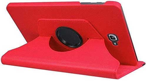 YYLKKB para Samsung Galaxy Tab A A6 10.1 2016 SM-T580 T580N T585 T585C Funda para Tableta Soporte Giratorio de 360 Grados Funda Protectora de Cuero-Rojo