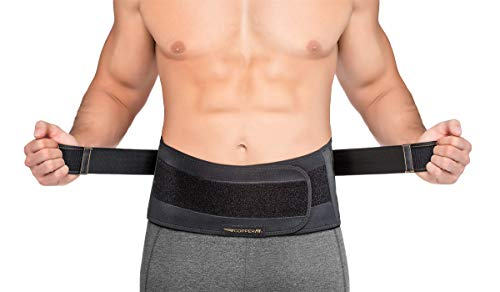 Copper Fit Men's Rapid Relief Back Support Brace with Hot/Cold Therapy, Black, One Size