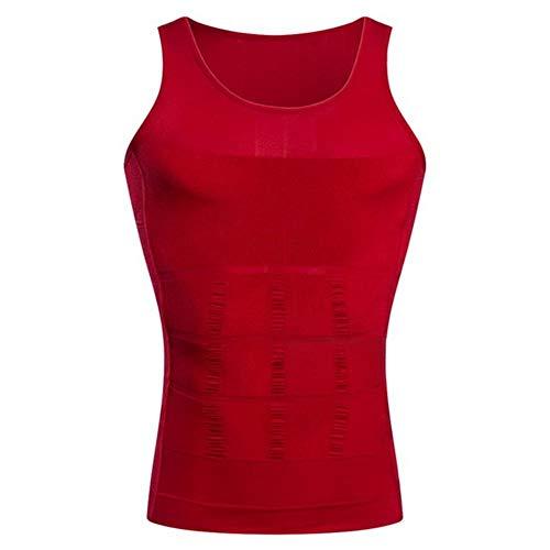 Huien Men Slimming Body Shaper Chaleco Camisa Abd Abdomen Slim Running Mallas Camisetas Gimnasio elástico Chaleco Deportivo Fitness Tank Tops, Rojo, L