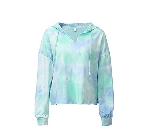 Damskie bluzy w paski z kolorowym blokiem, tunika z długim rękawem, bluza ze sznurkiem i sweterkami (Color : Blue, Size : X-Large)