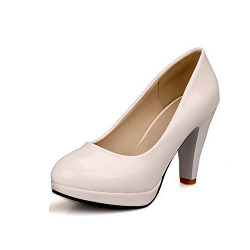 CosyFever Zapatos de Tacón Cono Alto conPonerse Parte Superior de Corte Bajo Casual DC9 para Mujeres Blanco - 35 EU