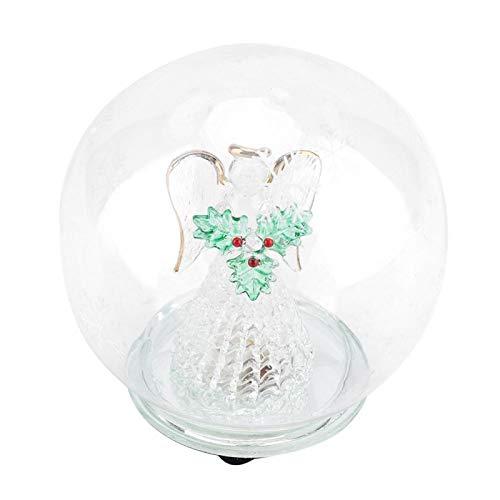 Bola De Cristal,Omabeta Lámpara esférica con forma de ángel de Navidad (copo...