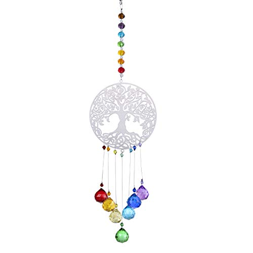 H&D Kristallregenbogen Sonnenfänger Glasbaum des Lebens Anhänger hängen Chakra Fenster Dekor