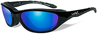 Wiley X Airrage Sunglasses, Polarized Blue Mirror, Gloss Black
