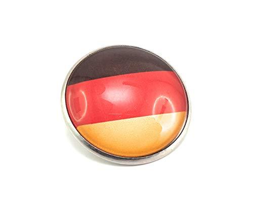 Stechschmuck Anstecknadel Handmade Button Flagge Fahne Deutschland WM Weltmeisterschaft Europameisterschaft Fußball Silber Farben 27mm