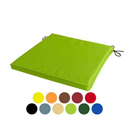 STYLE4HOME Waterproof Patio Chair Cushions with Seat Ties | Indoor and Outdoor Furniture Seating | Water-Resistant Polyester | Kitchen Dining, Lawn & Garden, Coffee Shop Use (Lime Green, 36cmx36cm)