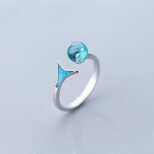 PRAK Damen Ring 925 Sterling Silber Verstellbar,Blue Mermaid Schwanz & Bubble Frauen Finger Ringe Für Frauen Schmuck Engagement Abendkleider Unisex Kreative Sekt Süß Verschleiß
