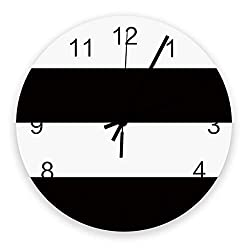 PartyShow Simple Black White Stripe Large Wooden Round Wall Clocks, Modern Silent Wall Clock for Office Patio Living Room Decor 12'' Diameter and 0.2'' Thickness