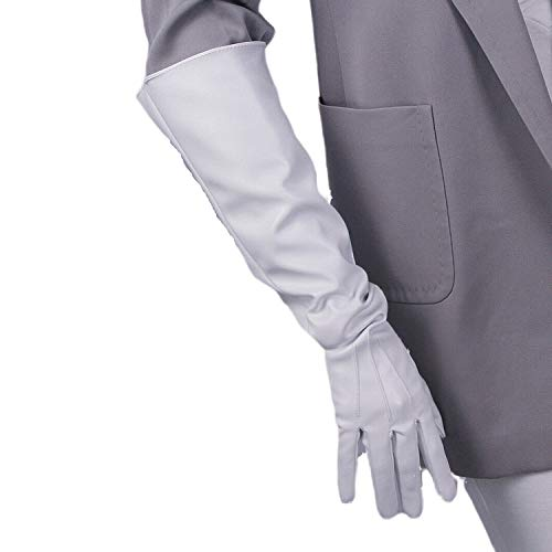 DooWay Women Long Faux Leather Gloves White 20-inch Over Elbow Length Gauntlet Cosplay Dress Driving Finger Gloves