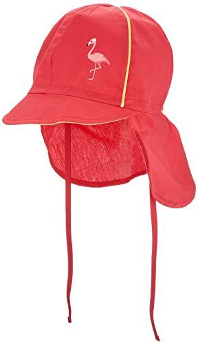 maximo Mädchen Nackenschutz Mütze, Rot (Begonie/Hellgelb 8439), (Herstellergröße: 53)
