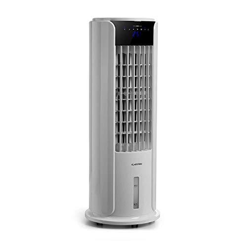 KLARSTEIN Skyscraper Horizon - Climatizador evaporativo 3 en 1: Enfriador de Aire, ventila y humidifica, 3 potencias, Panel de Control Touch, 60 W, Depósito Agua: 3,5 L, función oscilación, Lino