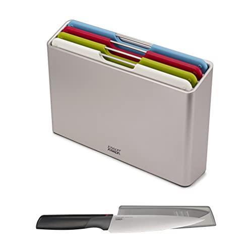 Joseph Joseph 98995 Folio Schneidbrett-Set mit Aufbewahrungsbehälter und KOSTENLOSEM Elevate Messer, Plastic