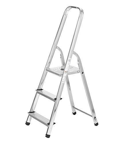 packer PRO Escaleras Plegables Aluminio de Tijera Super Resistente hasta 150Kg, Acero y Aluminio Antideslizantes, Altura de Trabajo hasta 260cm, 3 Peldaños