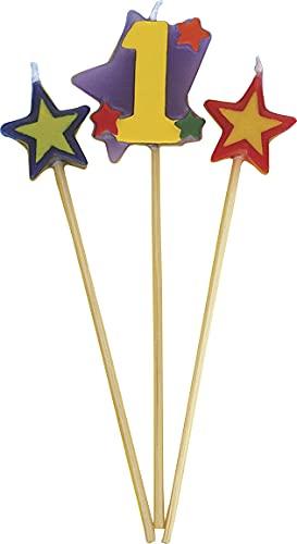 Unique Party 34041 - Velas de Cumpleaños con Forma de Estrella - Número 1 - Conjunto de 3