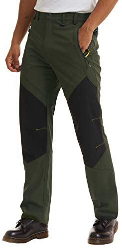 TACVASEN Skiing Trousers Men Winter Warm Fleece Outdoor Trousers Walking Trekking Trousers Mens Casual Thermal Waterproof Fishing Pants Snow Cold Trousers Army Green