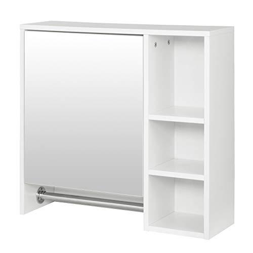 EUGAD Armarios con Espejo para Baño Cocina Mueble Espejo para Baño Mueble de Pared de baño Espejo con Estante Mueble Joyero de Madera con 5 Estantes Blanco 60x20x60cm 0132WY