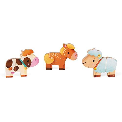 """Janod - """"Funny Magnets"""" Bauernhoftiere - Magnetisches Kleinkindspielzeug aus Holz - Handhabung und Geschicklichkeit - Ab 18 Monaten, J08058"""