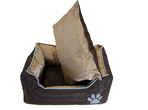 Lüllmann Hundebett mit Wendekissen Hundesofa Hundematte Hundekorb Hundekissen Tierbett Indoor und Outdoor (M Art.400171B:61x48x18cm, Braun/Beige)