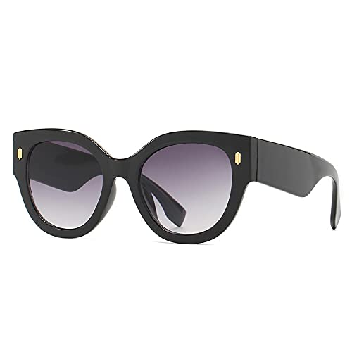 WANGZX Gafas De Sol Redondas Grandes De Moda para Mujer Gafas Graduadas con Remaches Retro Gafas De Sol Uv400 para Hombre Blackgray