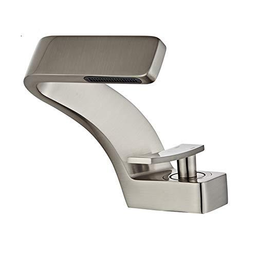 BOAOTX Modern Waschtischarmatur Wasserfall für Bad Waschbecken Wasserhahn Einhebel Mischbatterie Badarmatur Badezimmer Armatur aus Messing (matt Gebürstet Nickel)