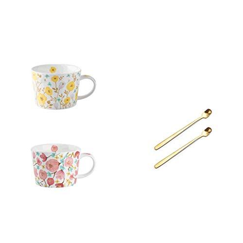 ZANZAN Conjunto de Taza romántica, Taza de café de cerámica de 8.8oz, Taza de café Impresa, Taza de Desayuno multifunción, Gran Regalo para Amigos Familiares-2 Colores (Color : Pink+Yellow)