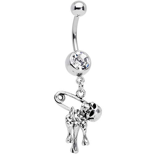Body Candy 14G 316L Steel Safety Pin Skull Bones Dangle Belly Button Ring