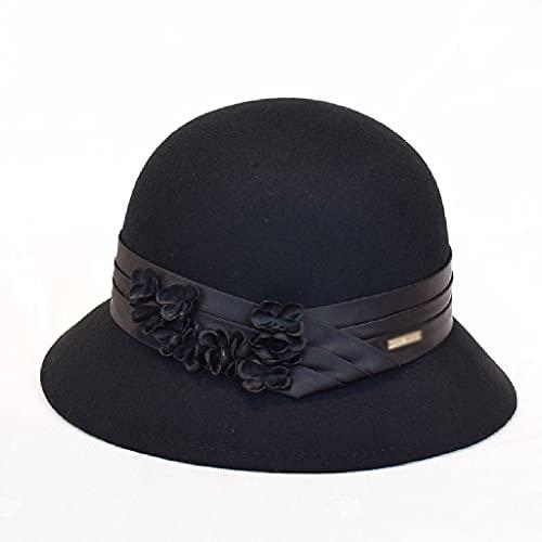 AAKKY Autumn Winter Lady Flowers Warm Felt Hat Women Vintage Felt Fedora Woolen Womens Hats (Color : Black, Size : 56-58cm)