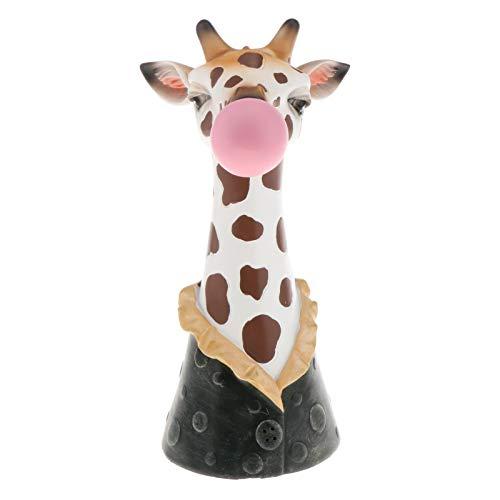 perfk Scultura di Ornamento di Vaso di Fiori Secchi da Tavolo a Forma di Testa di Animale per Giardino Domestico - Giraffa, Come descritto