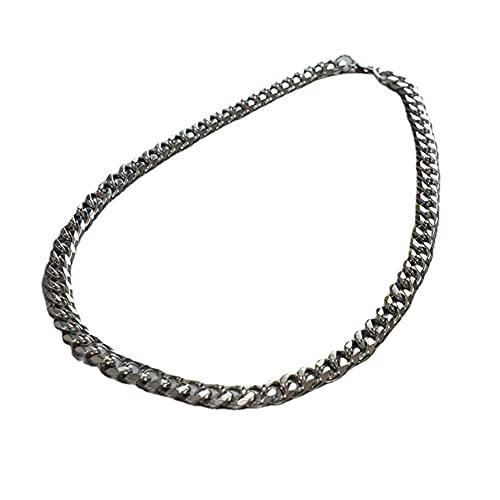 ASUROM Collar de Cadena de bordillo de eslabones de Acero de Titanio Plateado de 11 mm para Hombres, Mujeres de 18 a 22 Pulgadas en Bruto,11 mm Wide and 18 Inches Long