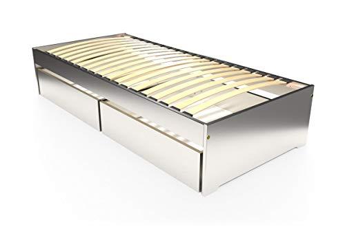 ABC MEUBLES – Lit Simple Malo 90 x 190 cm + tiroirs – TOPMALO90T – Gris Aluminium, 90 x 190 cm