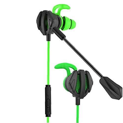 Auriculares con cable de juego Auriculares con cable con el micrófono de cancelación de doble ruido para auriculares en la oreja para el teléfono de la computadora verde