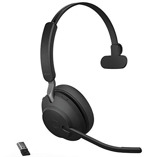 Jabra Evolve2 65 MS Wireless Headset with Link380a, Mono, Black – Wireless Bluetooth Headset for Calls and Music, 37 Hours of Battery Life, Passive Noise Cancelling Headphones