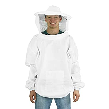 VIVO Professional White Medium/Large Beekeeping/Bee Keeping Suit, Jacket, Pull Over, Smock with a Veil (BEE-V105)