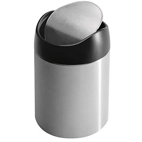 Space Home - Papelera Mini de Sobremesa con Tapa Oscilante - Mini Cubo de Basura - Acero