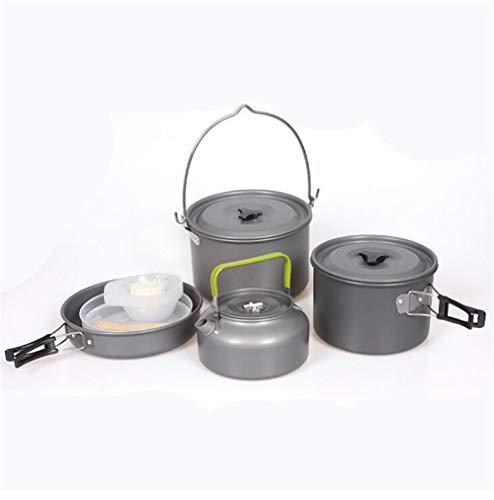 GYK Boutique Camping Cookware Kit,Outdoor kampeerset pot draagbaar met theepot gemakkelijk schoon te maken kookgerei 5-6 personen kampeerset pot