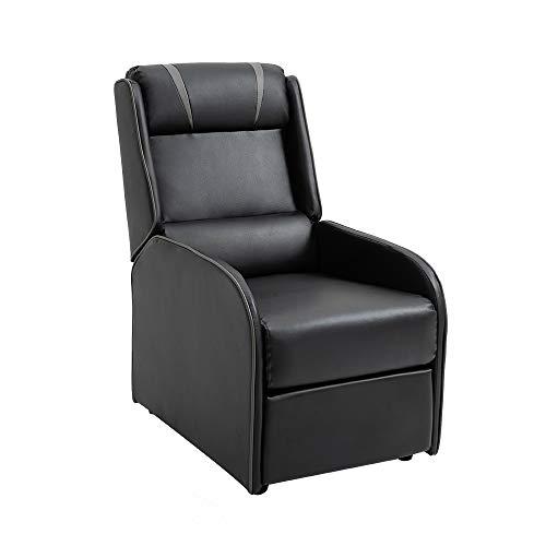 Mingone Relaxsessel mit Liegefunktion Fernsehsessel Sessel Liegefunktion Fernseh-TV-Sessel Kinosessel Lesesessel (Schwarz Grau, 89,5 x 55 x 100 cm)
