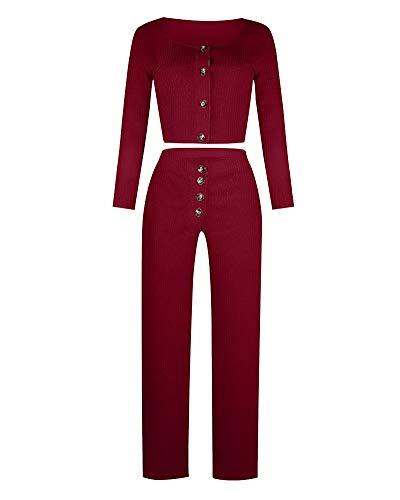 Mujeres Chaqueta de Punto Básico de Cuello Redondo con Botones y Pantalones de Cintura Alta 2 Piezas, Conjunto de Ropa de Punto de Color Sólido Vino Rojo XXL
