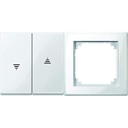 Merten 432419 Wippe für Rollladenschalter und -taster, polarweiß glänzend, System M & 478119 M-SMART-Rahmen, 1fach, polarweiß glänzend 1x, 1 Fach